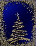 Starry Christmas tree on blue background Royalty Free Stock Images