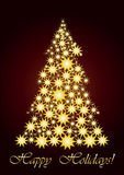 Starry Christmas tree  gold. Vector illustration, Unusual Christmas tree for your Greeting card Royalty Free Stock Image