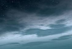 Starry and cloudy night Royalty Free Stock Images