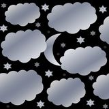 Starry and cloudy night sky Stock Photos
