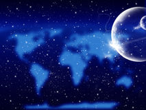Starry cosmic background. With planets and blurred world map Royalty Free Stock Photography