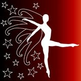 Starry dancing woman with wings. Silhouette of a dancing woman with wings leaving a starry night. Dark red background illustration Royalty Free Stock Photography
