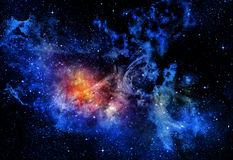 Starry deep outer space nebual and galaxy Stock Photography