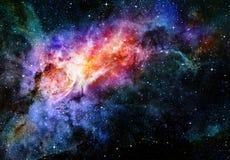 Starry djup nebula och galax för ytterkant avstånd Arkivbild