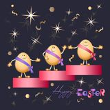 Starry Easter eggs with a festive greeting. Happy easter!. For romantic and Easter design, announcements, greeting cards, posters, advertising Stock Photos