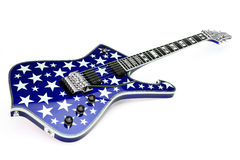 Starry electric guitar. Blue electric guitar covered in stars, white background Royalty Free Stock Photo