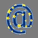 Starry email sign - at sign3d Starry blue symbol - Childhood, Decoration or Design concept vector illustration