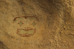 The Starry Eyed Man. In Hueco Tanks State Historic Park near El Paso, Texas is the only pictograph in the park to use blue coloring Royalty Free Stock Images