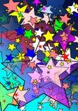 starry färgrik natt stock illustrationer