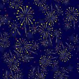 Starry Firework Seamless Pattern. On Blue Background Royalty Free Stock Images