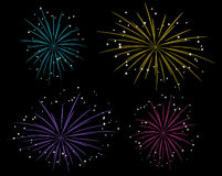 Starry fireworks. Set of bright starry fireworks Royalty Free Stock Photo