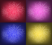 Starry fireworks. Set of bright starry fireworks Stock Photography