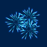 Starry fireworks on blue background. Vector illustration Royalty Free Stock Photography