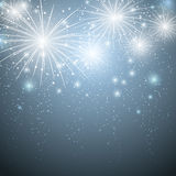 Starry fireworks. In blue sky Stock Image