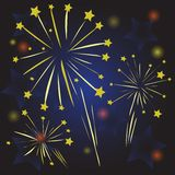 Starry fireworks Stock Photos