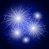 Starry fireworks in night sky. Starry fireworks in blue night sky Royalty Free Stock Images