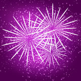 Starry fireworks on purple background Stock Photos