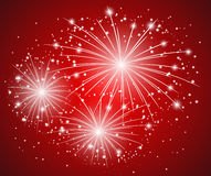 Starry fireworks red. Red starry firework -  illustration Stock Photo
