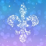 Starry fleur de lis silhouette on violet and blue background. With bokeh Stock Image