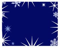 Starry frame. Festive frame in blue with retro stars and snowflakes Stock Images