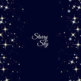 Starry frame on dark blue background Royalty Free Stock Images