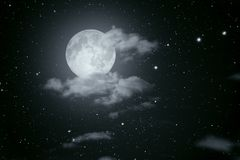 Starry full moon night Royalty Free Stock Image