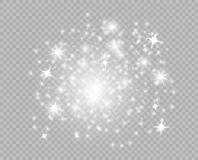 Starry glittering dust elements. Glowing light particles. Christmas abstract glitter decoration. Vector isolated background. stock illustration