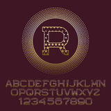 Starry gold letters and numbers with R initial monogram. Royalty Free Stock Photography
