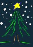 starry julnatt Royaltyfri Illustrationer