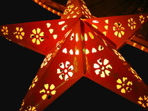 Starry Lantern. A beautiful star shaped lantern lit on the occasion of diwali Stock Photos