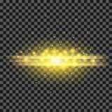 Starry Light Background. Yellow  Glowing Lines. Speed Motion Effect. Sparcle Glitter Trail Royalty Free Stock Image