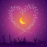 Starry Love Night Stock Image