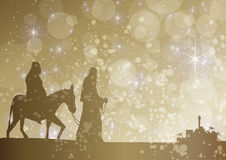 Starry mary and joseph. Mary and joseph arriving at bethlehem Stock Images