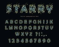 Starry modern font. Abstract polygonal letters and numbers with texture of space universe. Vector. Illustration Royalty Free Stock Photography