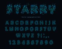 Starry modern font. Abstract polygonal letters and numbers with texture of space universe. Vector. Illustration Royalty Free Stock Photos