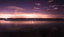 Starry moonlight over florida lake stock photo