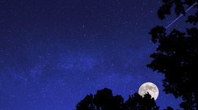 Starry Moonlit Sky. A beautiful starry moonlit sky with a shooting star for a background stock images