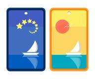 Starry natt och solig design för dagseglingbokmärke vektor illustrationer