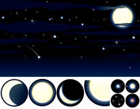 Starry night. Collection of Stars, Moons and other elements to create your own night sky - vector clip art isolated on black. To see more - please visit at my Royalty Free Stock Photos