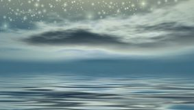 Starry Night. Over the ocean Stock Illustration