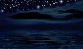 Starry Night. Over the ocean Vector Illustration