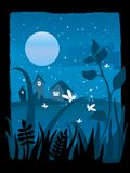 Starry night. With full moon and fireflies playing in the grass, vector illustration Stock Photos