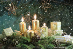 Starry Night Advent. With gifts Stock Images