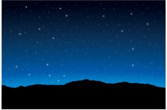 Starry night background. Glowing stars, blue background zodiac Stock Photography