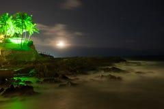 Starry night at the coast of Salvador de Bahia Stock Images