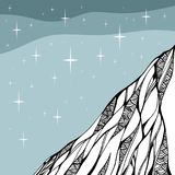 Starry night. Doodle drawing of mountain. Hand drawn vector illustration Stock Image