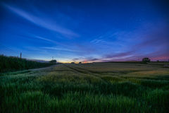 Starry night in farm fields with beautiful sky, Cornwall, UK Royalty Free Stock Photo