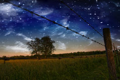 Starry Night Fence and field Stock Photos