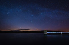 Starry Night at Fontburn Reservoir. Fontburn Reservoir in Northumberland is a popular place for fishing and walking, seen her under the stars at night Royalty Free Stock Photos