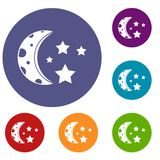 Starry night icons set. In flat circle red, blue and green color for web Stock Photo